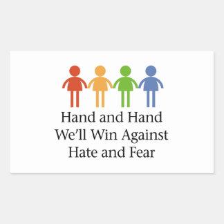 Sticker Rectangulaire De pair contre la haine et la crainte