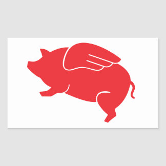 Sticker Rectangulaire 🐷 de porc de vol