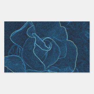 Sticker Rectangulaire découpe de rose de bleu