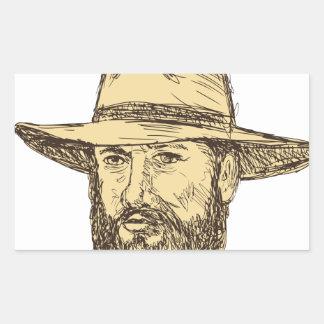Sticker Rectangulaire Dessin barbu de tête de cowboy