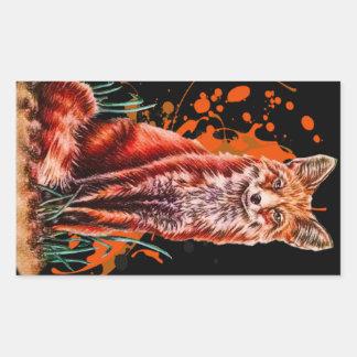 Sticker Rectangulaire Dessin d'art animal rouge de Fox et de peinture