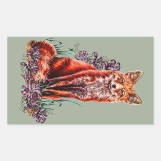 Sticker Rectangulaire Dessin d'art animal rouge et de lis de Fox