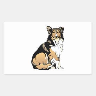 Sticker Rectangulaire Dessin de chien de colley