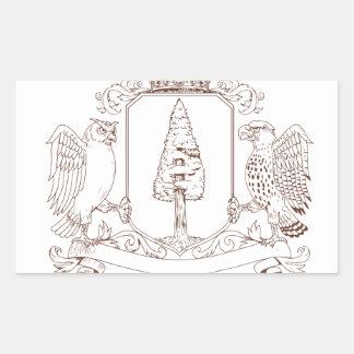 Sticker Rectangulaire Dessin de crête de couronne de séquoia de hibou et