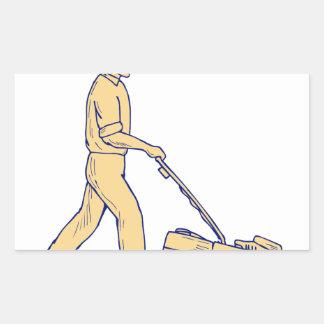 Sticker Rectangulaire Dessin de fauchage de tondeuse à gazon de