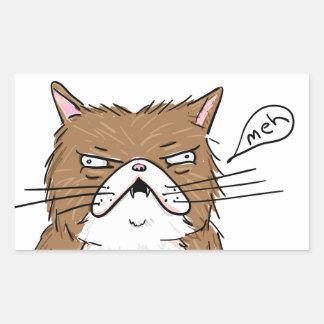 Sticker Rectangulaire Dessin grincheux drôle de chat de Meh