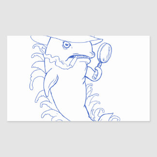 Sticker Rectangulaire Dessin révélateur d'épaulard d'orque