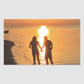 Sticker Rectangulaire Deux amants au lever de soleil