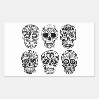 Sticker Rectangulaire Dia de los Muertos Skulls (jour des morts)