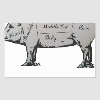 Sticker Rectangulaire Diagramme de porc