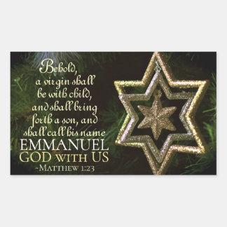 Sticker Rectangulaire Dieu d'Emmanuel avec nous bible de Noël de 1h23 de