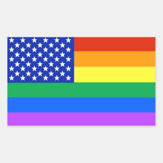 Sticker Rectangulaire Drapeau américain d'arc-en-ciel de LGBT