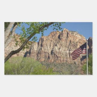 Sticker Rectangulaire Drapeau américain en parc national I de Zion