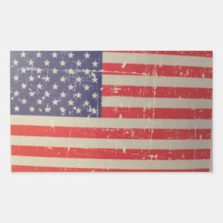 Sticker Rectangulaire Drapeau américain patiné et affligé des Etats-Unis