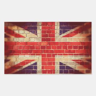 Sticker Rectangulaire Drapeau BRITANNIQUE vintage sur un mur de briques