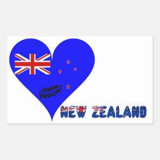 Sticker Rectangulaire Drapeau de coeur de la Nouvelle Zélande