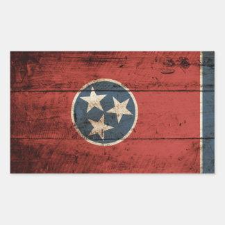 Sticker Rectangulaire Drapeau d'état du Tennessee sur le vieux grain en