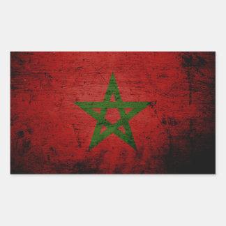 Sticker Rectangulaire Drapeau grunge noir du Maroc