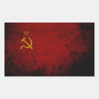 Sticker Rectangulaire Drapeau grunge noir d'Union Soviétique