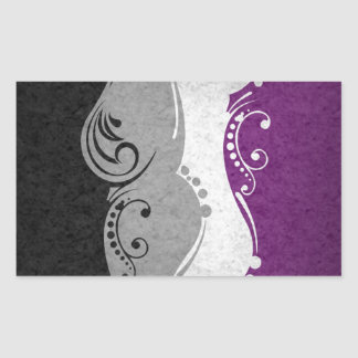 Sticker Rectangulaire Drapeau ornemental asexuel