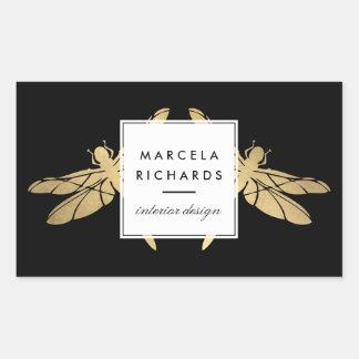 Sticker Rectangulaire Duo élégant de libellule d'or de Faux sur le noir