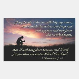 Sticker Rectangulaire Écriture sainte de 7h14 de 2 Chronicles priant au