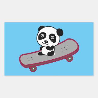 Sticker Rectangulaire Équitation de panda sur la planche à roulettes