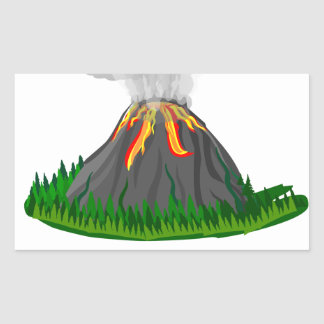 Sticker Rectangulaire éruption et feu de volcan