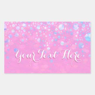 Sticker Rectangulaire Étoiles roses de scintillement de Bokeh