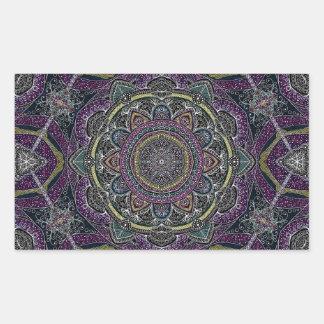 Sticker Rectangulaire Étoiles sacrées et dentelle de mandala pourpres et