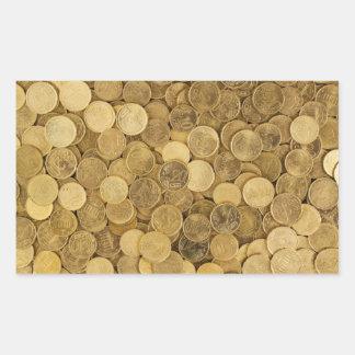 Sticker Rectangulaire Euro pièces de monnaie colorées par or