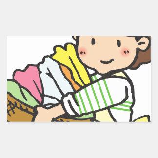 Sticker Rectangulaire Femme avec le panier de blanchisserie