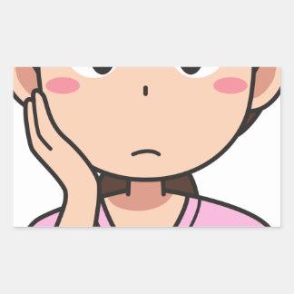 Sticker Rectangulaire Femme inquiétée