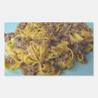 Sticker Rectangulaire Fettuccine frais italien avec des champignons de