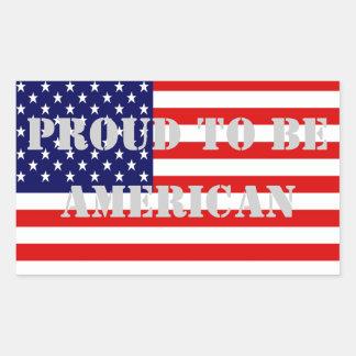 Sticker Rectangulaire Fier patriotique et puissant d'être américain