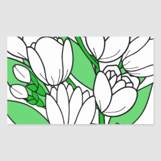 Sticker Rectangulaire Fleur de jasmin