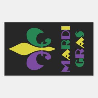 Sticker Rectangulaire ~ Fleur De Lis de mardi gras