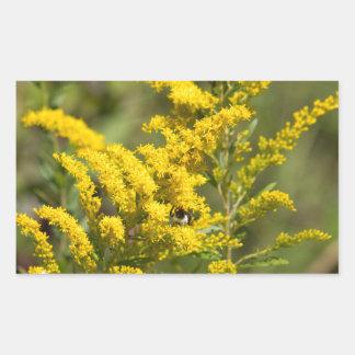 Sticker Rectangulaire Fleurs sauvages dorés