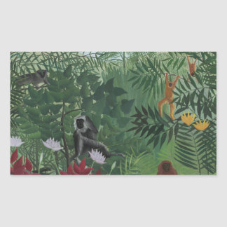 Sticker Rectangulaire Forêt tropicale de Rousseau avec des singes