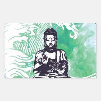 Sticker Rectangulaire Fumée d'émeraude de vague de Bouddha d'ouragan