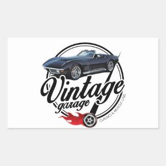 Sticker Rectangulaire Garage vintage avec Corvette noire