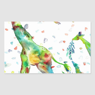 Sticker Rectangulaire GIRAFE .2 d'aquarelle