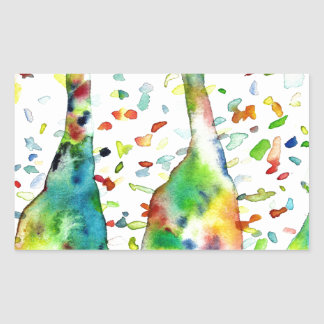 Sticker Rectangulaire GIRAFE .3 d'aquarelle