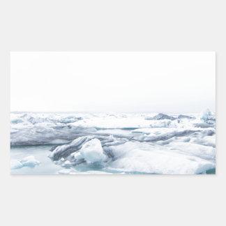 Sticker Rectangulaire Glaciers de l'Islande - blanc