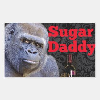 Sticker Rectangulaire gorille drôle de papa gâteau de plaisanterie