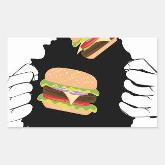Sticker Rectangulaire Grand hamburger savoureux et Hands3