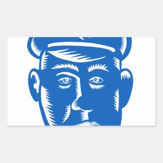 Sticker Rectangulaire Gravure sur bois en tête de policier