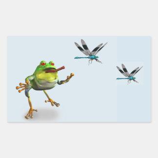 Sticker Rectangulaire Grenouille chassant la libellule