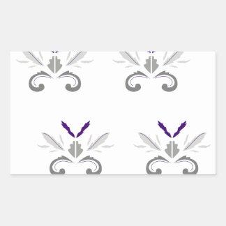 Sticker Rectangulaire Gris blanc d'ornements de luxe