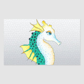 Sticker Rectangulaire gris turquoise d'hippocampe